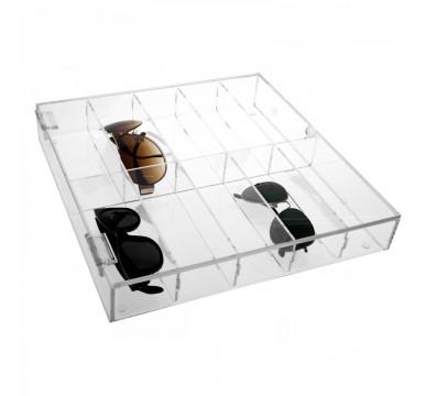 Clear acrylic 10-Tier eyeglass/sunglass display rack Dimensions: 13.78''Wx13.78''Dx2.17''T