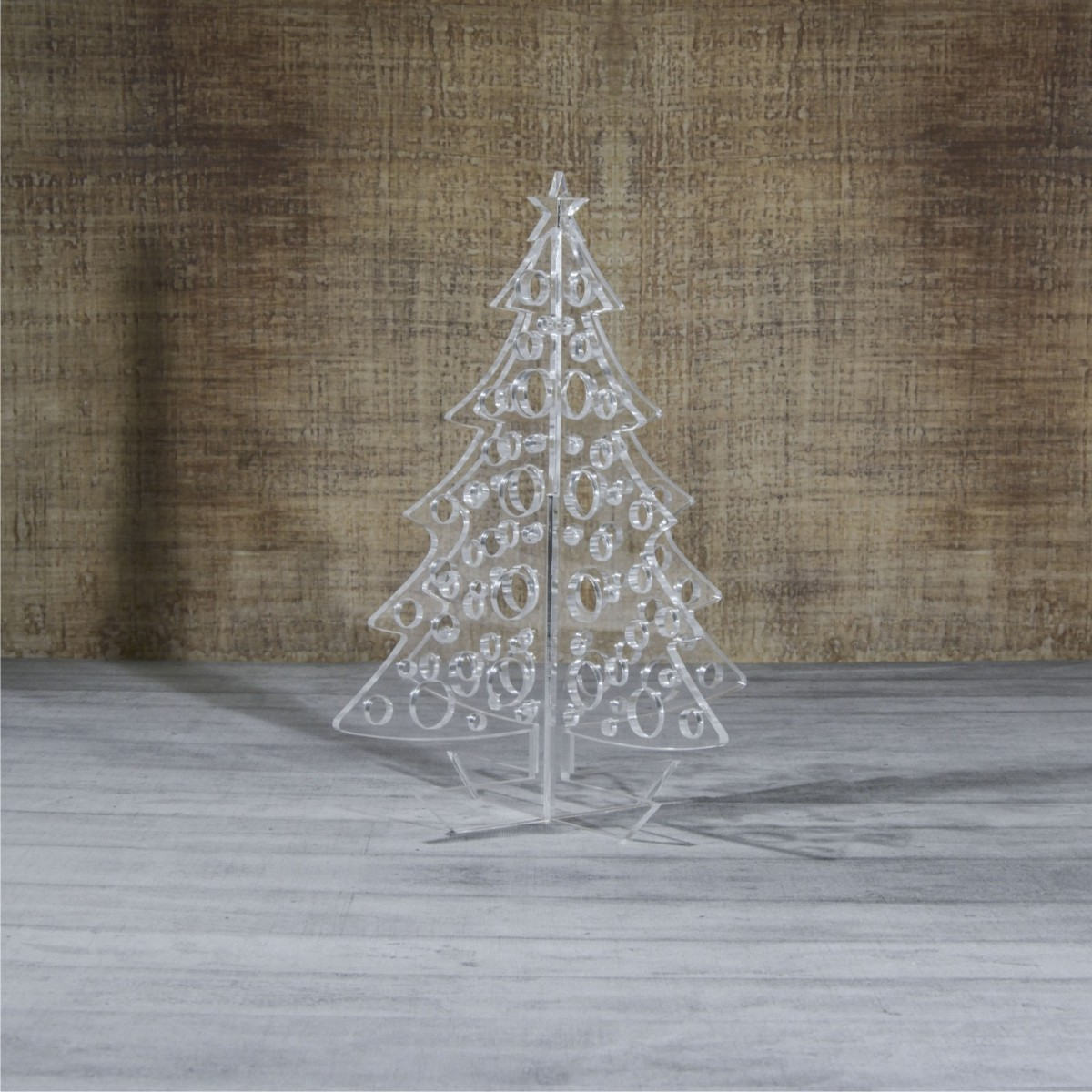 E-448 ALT - Alberello natalizio in plexiglass trasparente adatto per decorare il tuo ambiente