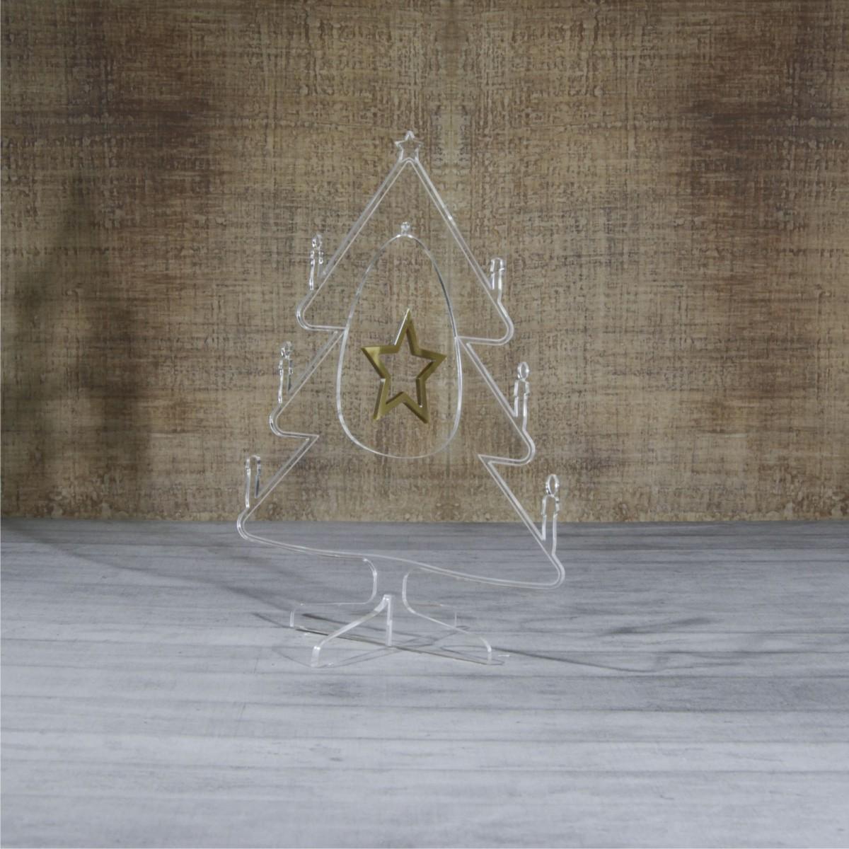 E-450 ALT - Alberello natalizio in plexiglass trasparente adatto per decorare il tuo ambiente