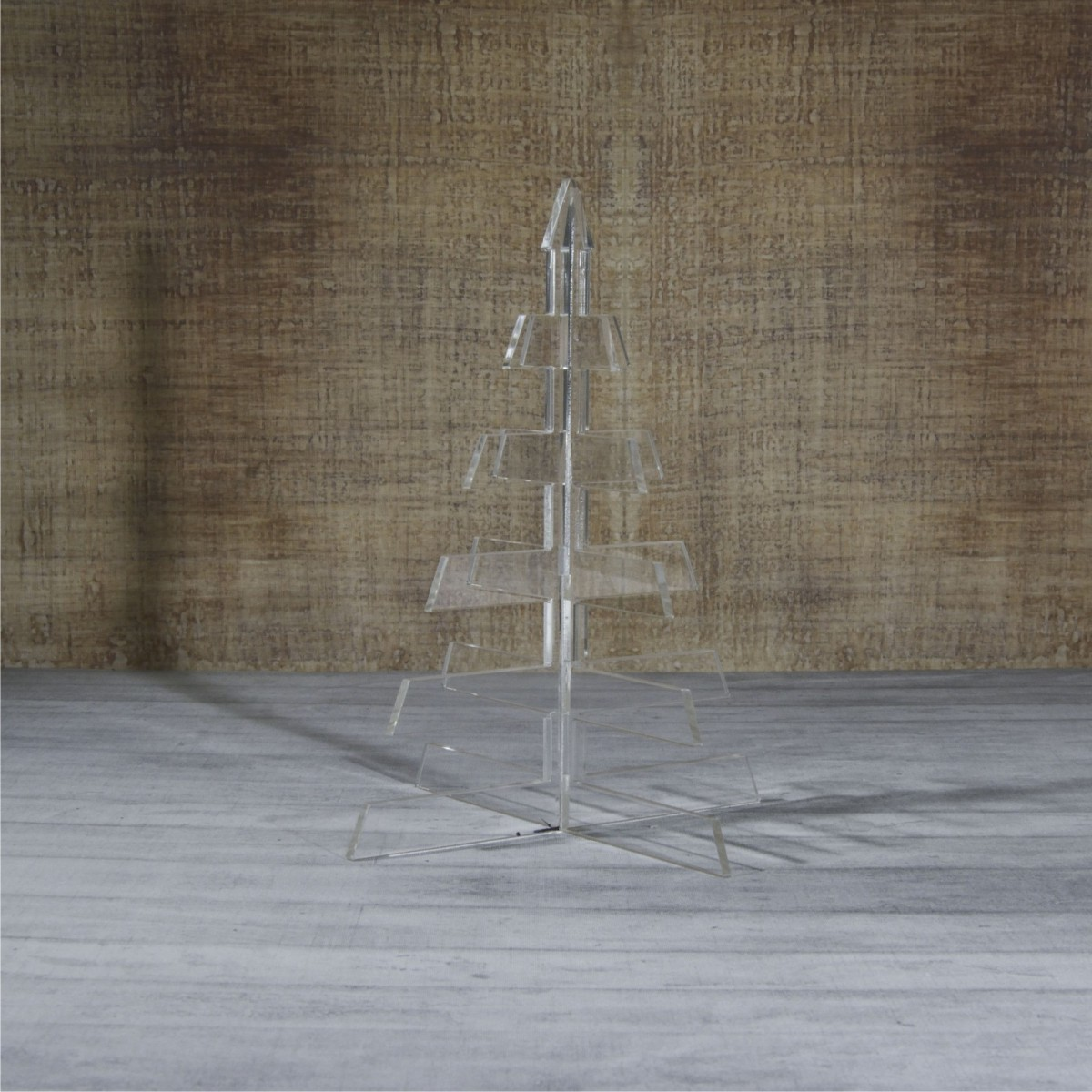 E-456 ALT - Alberello natalizio in plexiglass trasparente adatto per decorare il tuo ambiente - Misura: 20x20xh26 cm