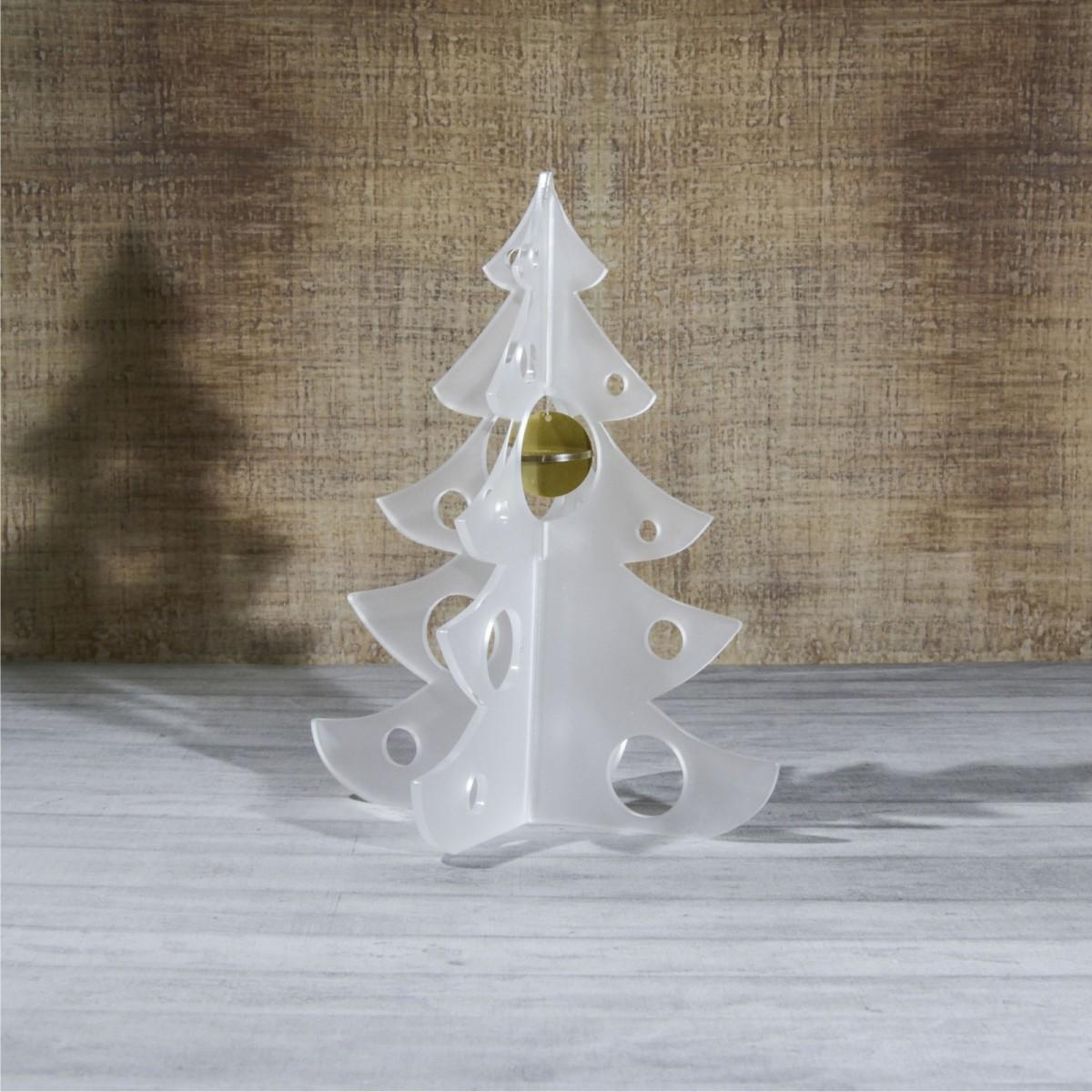 E-461 ALS - Alberello natalizio in plexiglass satinato adatto per decorare il tuo ambiente - Misura: 13x13xh16 cm