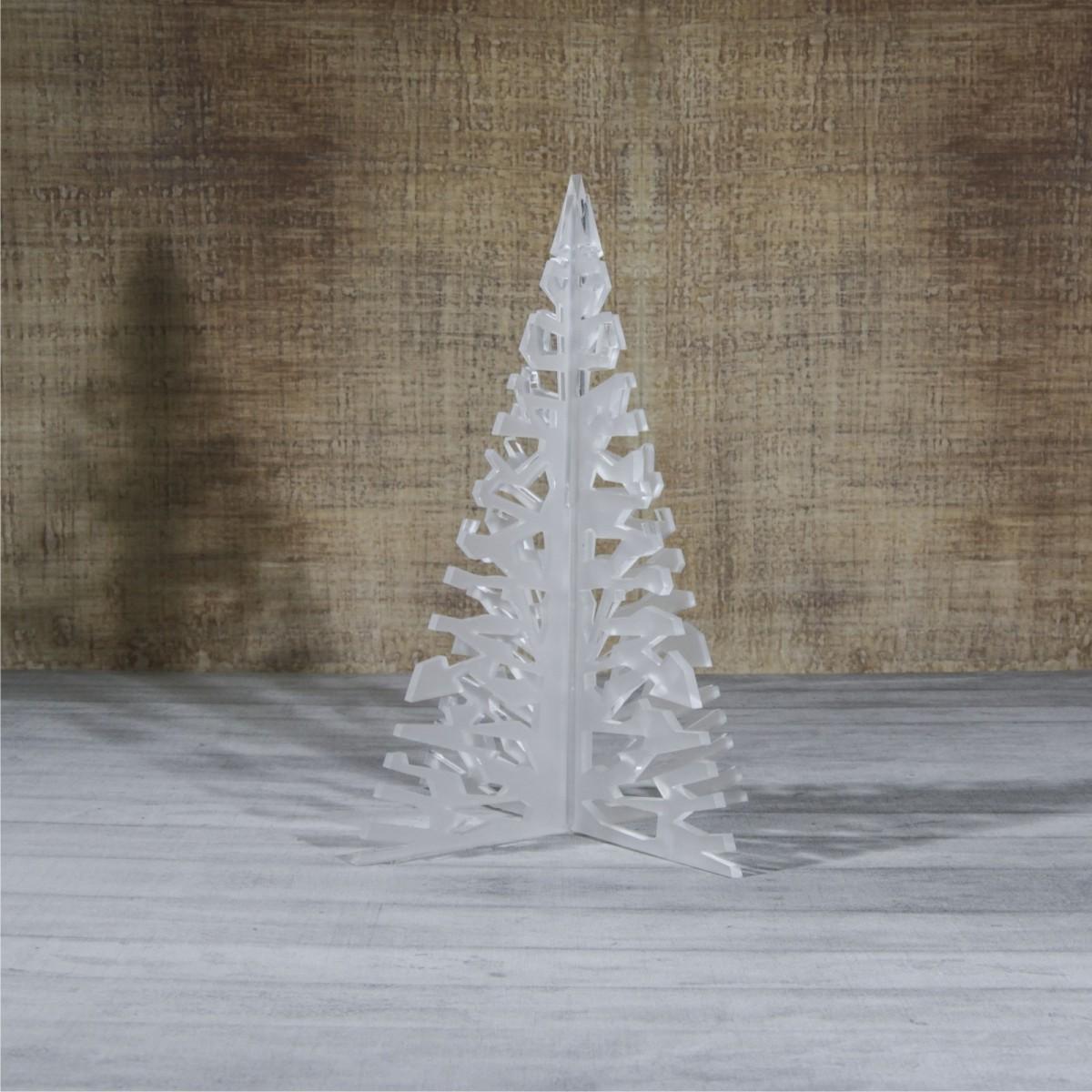 E-463 ALS - Alberello natalizio in plexiglass satinato adatto per decorare il tuo ambiente - Misura: 13x13xh16 cm