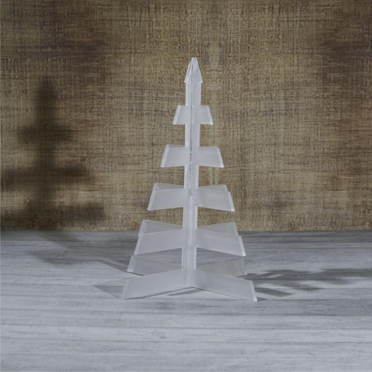 E-465 ALS - Alberello natalizio in plexiglass satinato adatto per decorare il tuo ambiente - Misura: 13x13xh16 cm
