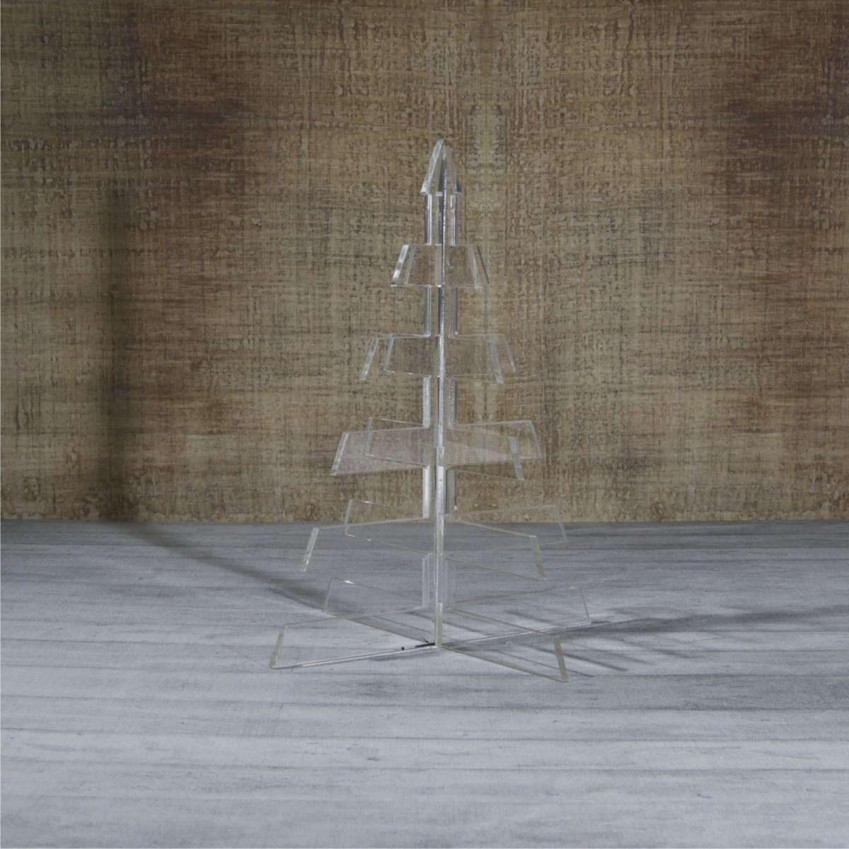 E-466 ALT - Alberello natalizio in plexiglass trasparente adatto per decorare il tuo ambiente - Misura: 13x13xh16 cm