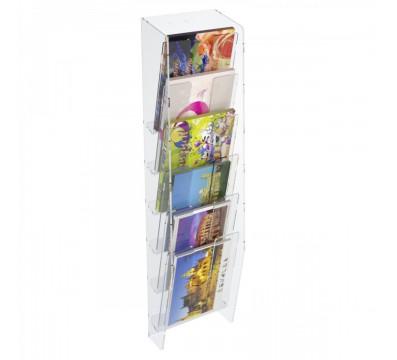 E-399 EPC-A - Espositore porta cartoline da parete in plexiglass trasparente a 6 tasche