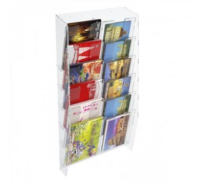 E-399 EPC-B - Espositore porta cartoline da parete in plexiglass trasparente a 12 tasche