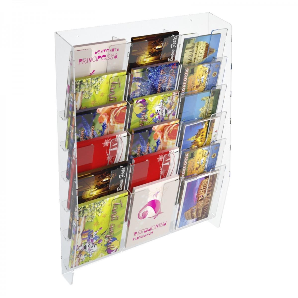 E-399 EPC-C - Espositore porta cartoline da parete in plexiglass trasparente a 18 tasche