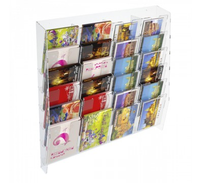 E-399 EPC-D - Espositore porta cartoline da parete in plexiglass trasparente a 24 tasche
