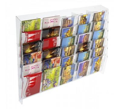 E-399 EPC-E - Espositore porta cartoline da parete in plexiglass trasparente a 30 tasche