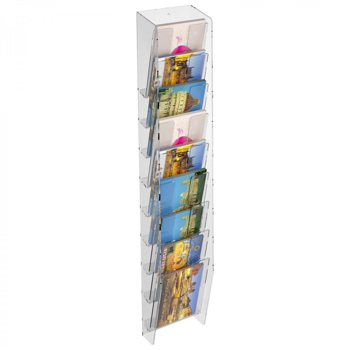 E-399 EPC-F - Espositore porta cartoline da parete in plexiglass trasparente a 9 tasche