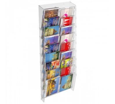 E-399 EPC-G - Espositore porta cartoline da parete in plexiglass trasparente a 18 tasche