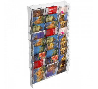 E-399 EPC-H - Espositore porta cartoline da parete in plexiglass trasparente a 27 tasche