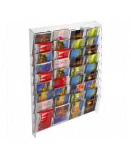 E-399 EPC-I - Espositore porta cartoline da parete in plexiglass trasparente a 36tasche