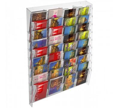 Wanddisplay für Karten aus Plexiglas transparent mit 36 Fächer