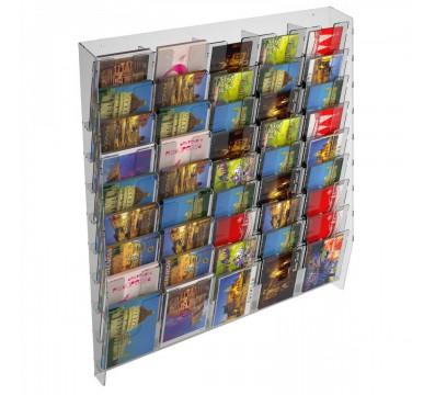 Wanddisplay für Karten aus Plexiglas transparent mit 45 Fächer