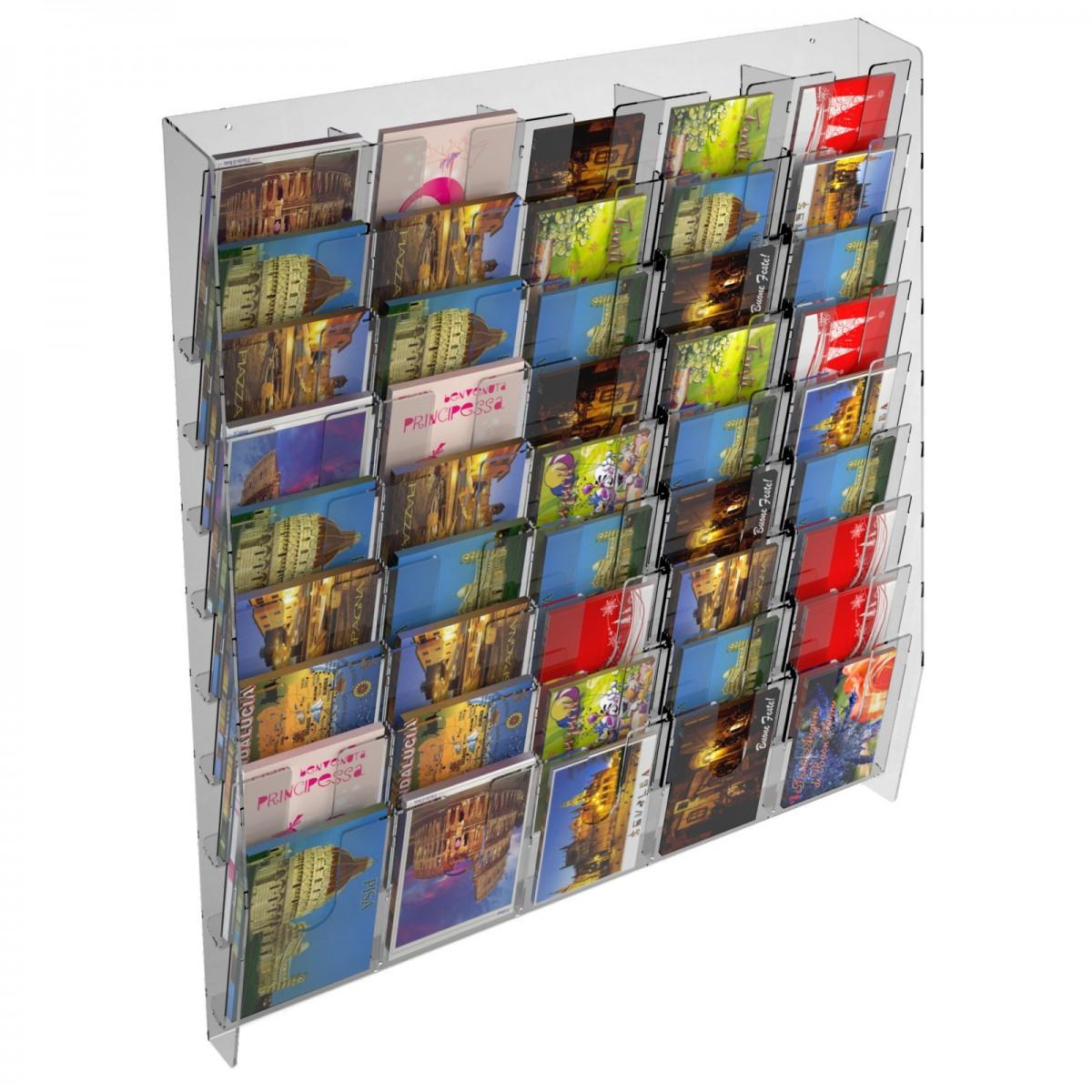 E-399 EPC-L - Espositore porta cartoline da parete in plexiglass trasparente a 45 tasche