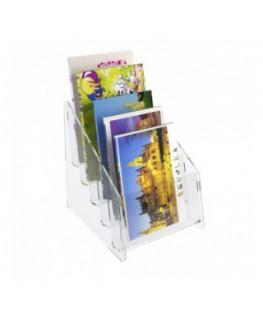 E-400 EPC-A - Espositore porta cartoline da banco in plexiglass trasparente a 5 tasche