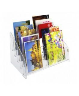 E-400 EPC-B - Espositore porta cartoline da banco in plexiglass trasparente a 10 tasche