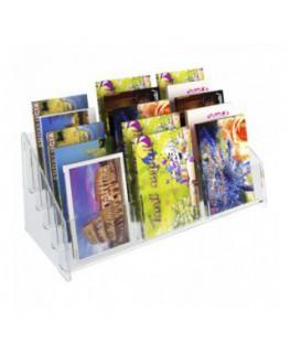 E-400 EPC-C - Espositore porta cartoline da banco in plexiglass trasparente a 15 tasche