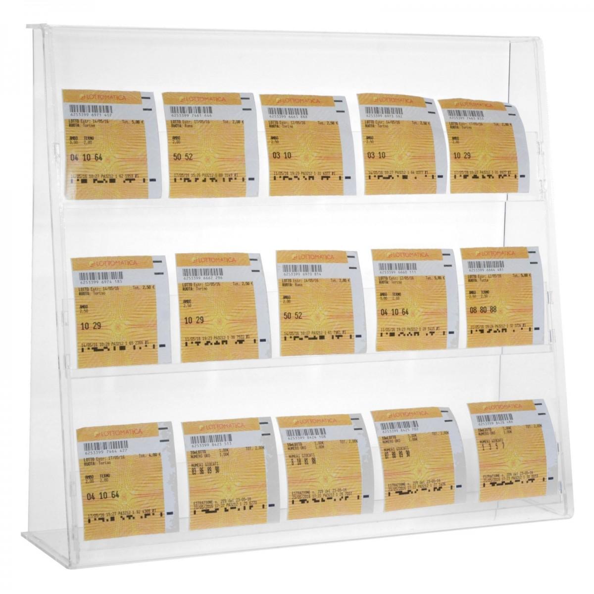E-401 ECB-A - Espositore porta cedole giocate a 3 tasche realizzato in plexiglass trasparente