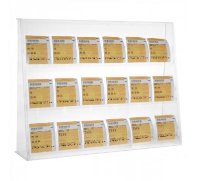 Display für eingelöste Tippscheine mit 3 Fächer aus Plexiglas transparent