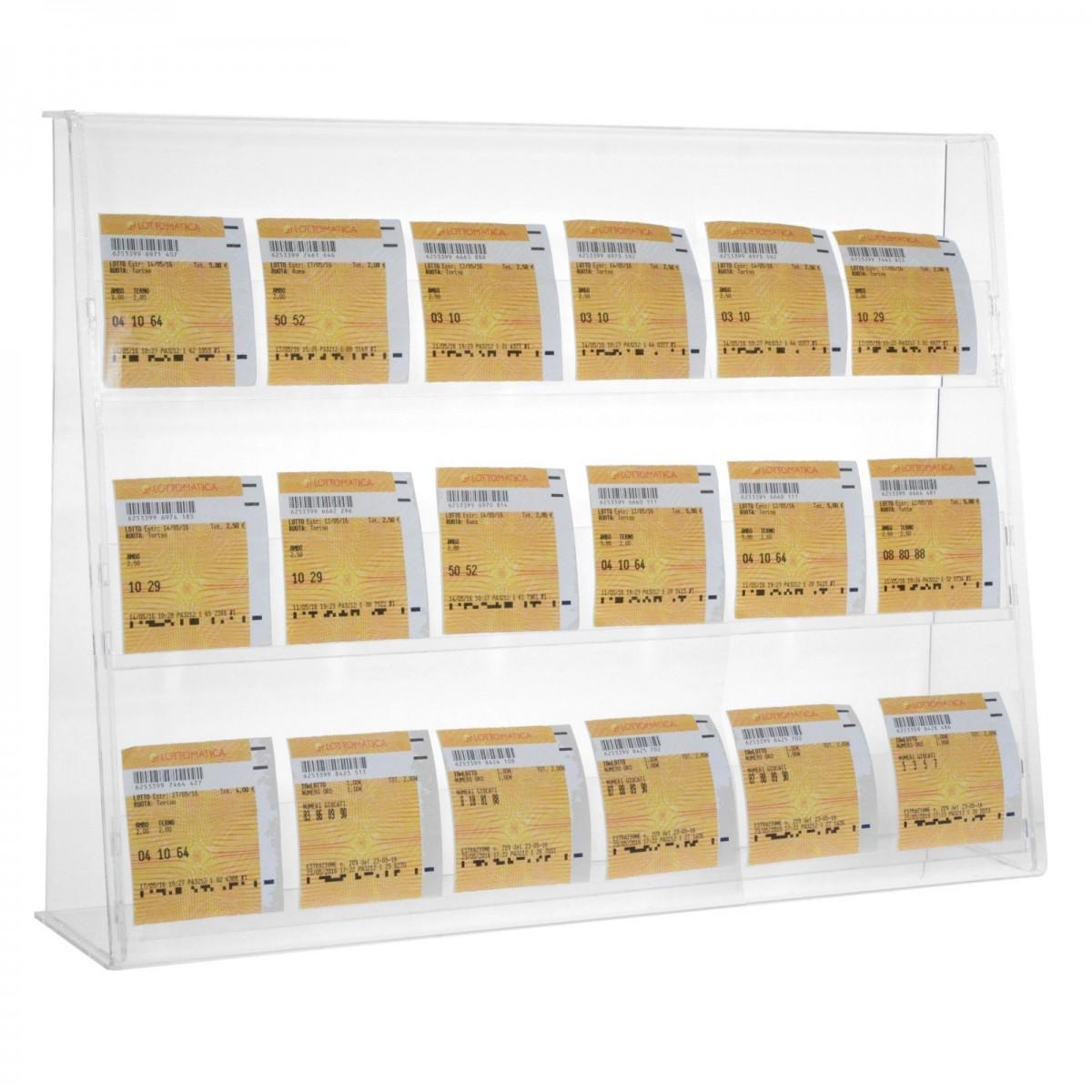 E-401 ECB-B - Espositore porta cedole giocate a 3 tasche realizzato in plexiglass trasparente