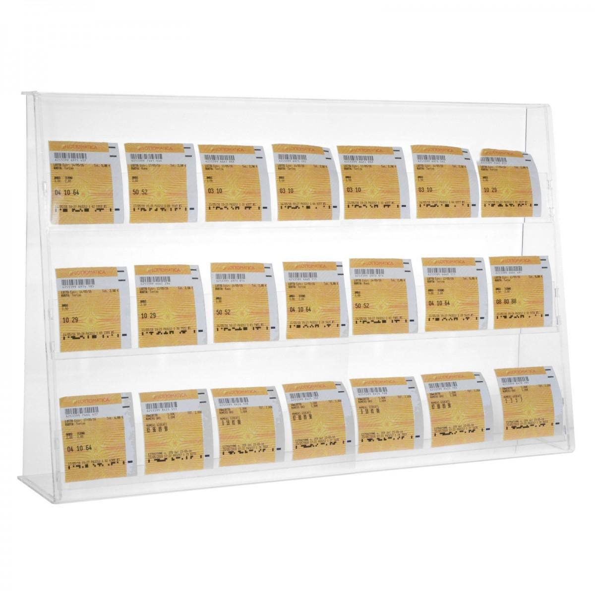 E-401 ECB-C - Espositore porta cedole giocate a 3 tasche realizzato in plexiglass trasparente