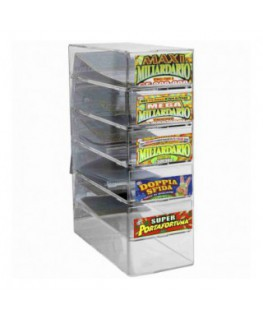 Clear acrylic countertop display for scratch cards with 5...