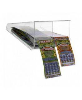 E-408 EGV-B - Espositore gratta e vinci da soffitto in plexiglass trasparente a 2 scomparti lato rivenditore