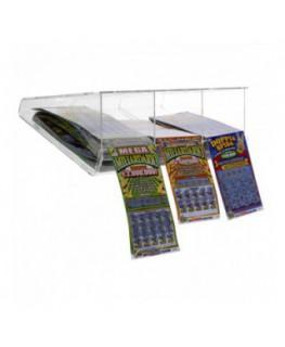 E-408 EGV-C - Espositore gratta e vinci da soffitto in plexiglass trasparente a 3 scomparti lato rivenditore