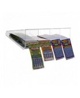 E-408 EGV-D - Espositore gratta e vinci da soffitto in plexiglass trasparente a 4 scomparti lato rivenditore