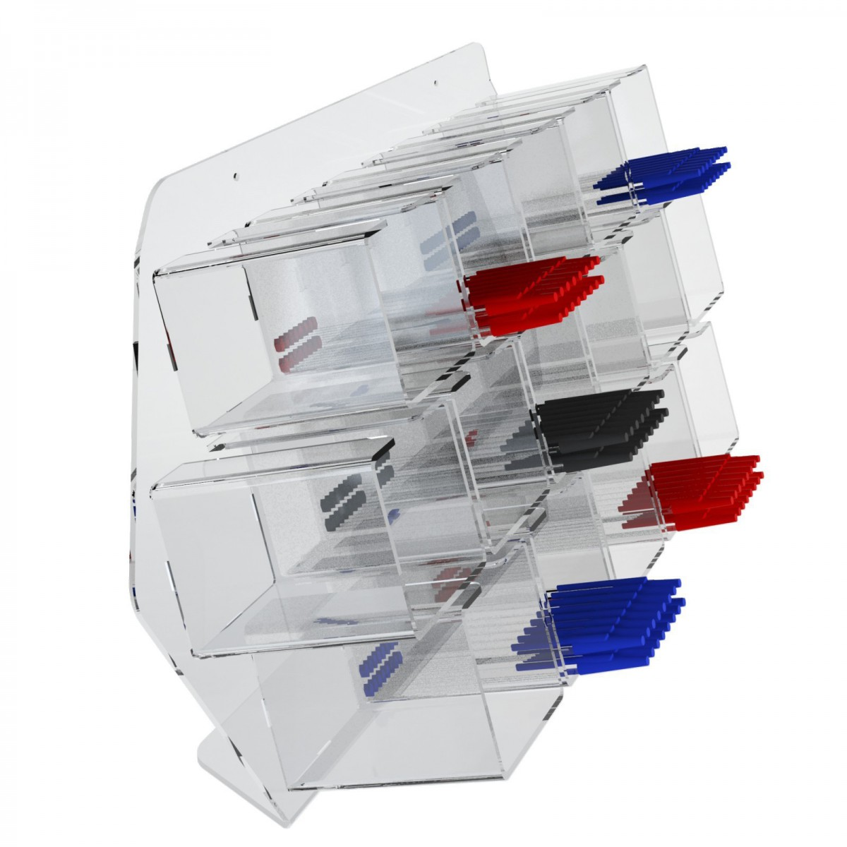 E-413 EPP - Porta penne da parete in plexiglass trasparente a 16 contenitori