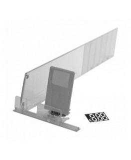 Cigarette pack pusher shelf kit that includes divider, basic rail and price stickers