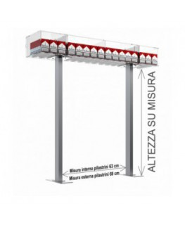 E-533 ESS-A - Struttura a ponte da banco per espositore porta sigarette da 20 a 16 postazioni - CM(LxPxH):108x25x15
