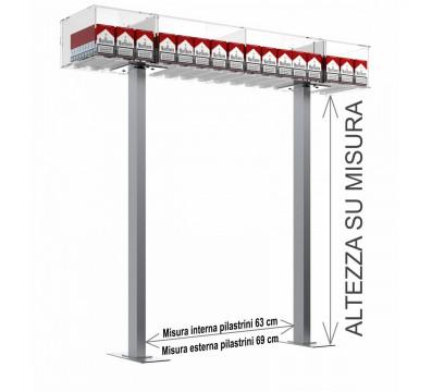 Struttura a ponte da banco per espositore porta sigarette da 20 a 16 postazioni - CM(LxPxH):108x25x15