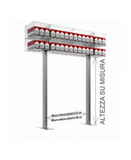 Struttura a ponte da banco per espositore porta sigarette da 20 a 32 postazioni - CM(LxPxH):108x25x30