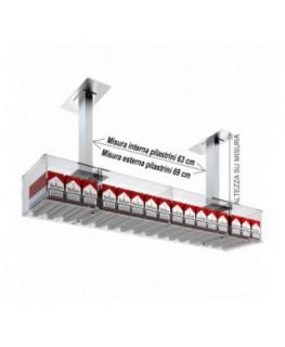 E-534 ESS-A - Struttura a ponte da soffitto per espositore porta sigarette da 20 a 16 postazioni - CM(LxPxH):108x25x15