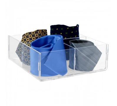 Porta cravatte in plexiglass trasparente