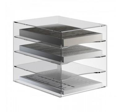 Vaschetta portadocumenti in plexiglass trasparente a 4 ripiani per documenti A4