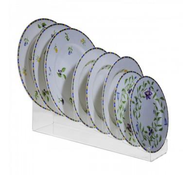 Espositore per piatti in plexiglass trasparente a 8 scomparti