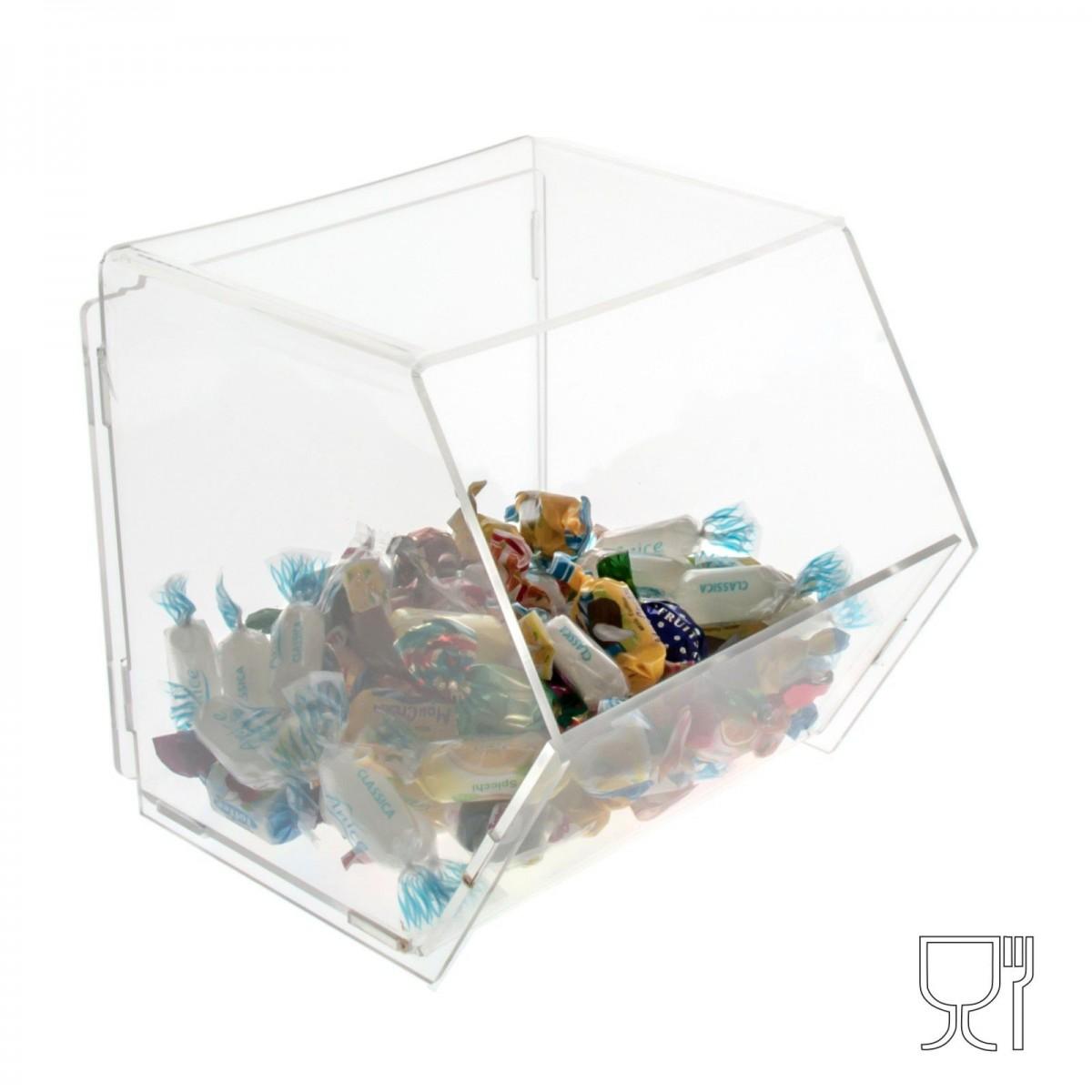 E-045 PC - Porta caramelle in plexiglass trasparente SENZA sportello - Misure: 16x17x H17 cm