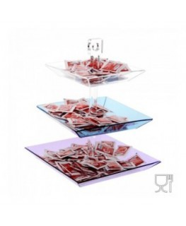 Tabletop candy bin and sugar sachet holder, with 3 shelves (different size and colour)