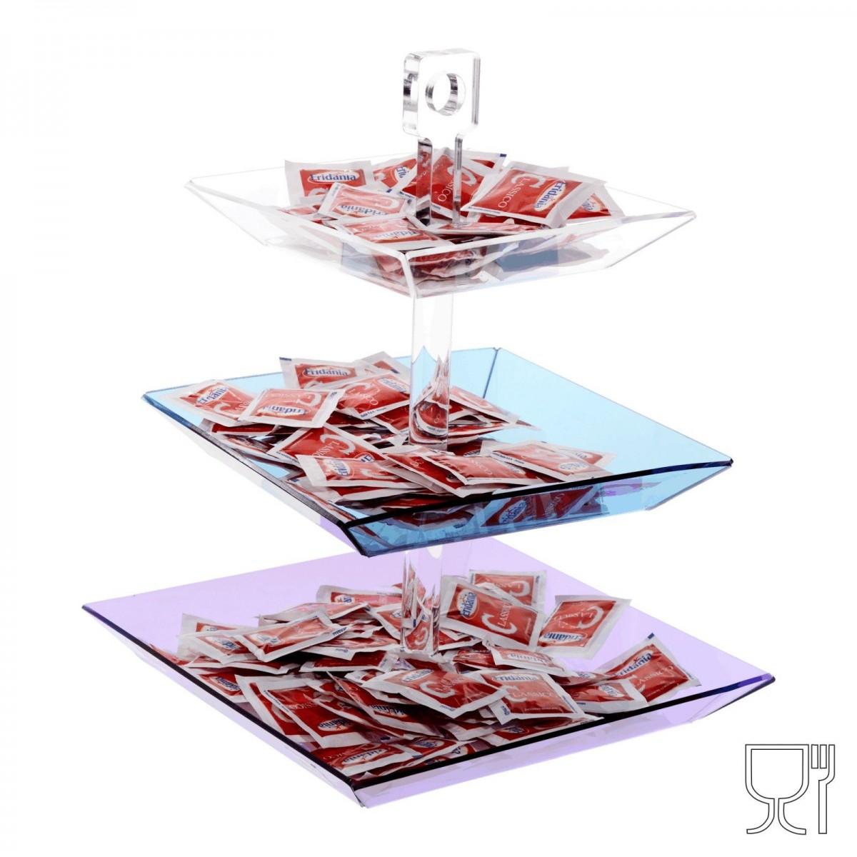 E-046 PB - Porta caramelle e bustine da tavolo, formato da tre piatti di diversa grandezza e colore - Altezza totale 34 cm