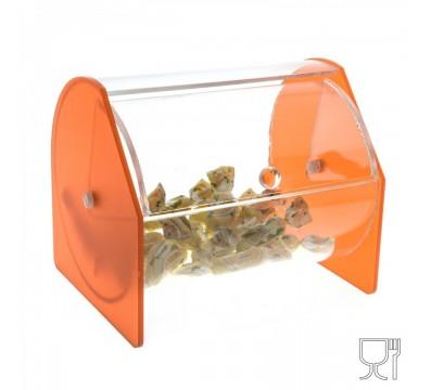 E-047 PC - Porta caramelle e porta palette a sezione circolare in plexiglass - Misure: 15 x 12.5 x H13 cm