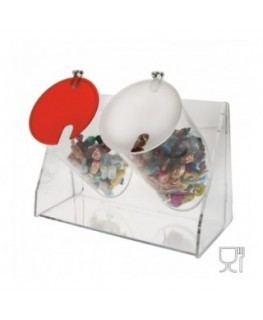 Candy bin - 2 circular compartments with locking door
