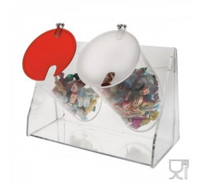 Bonbon-Schütte mit 2 kreisförmigen Behältern mit Deckel
