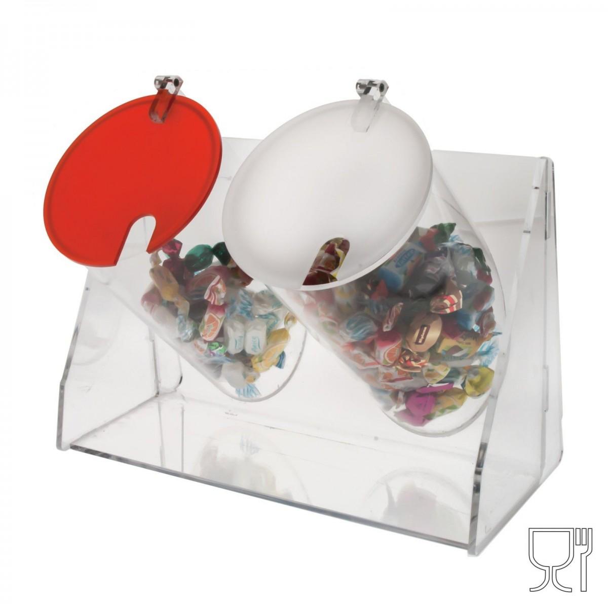 E-049 PC - Porta caramelle 2 contenitori circolari con sportello