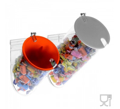 Candy bin - 2 Circular compartments with door and bracket for wall-mounting fastening