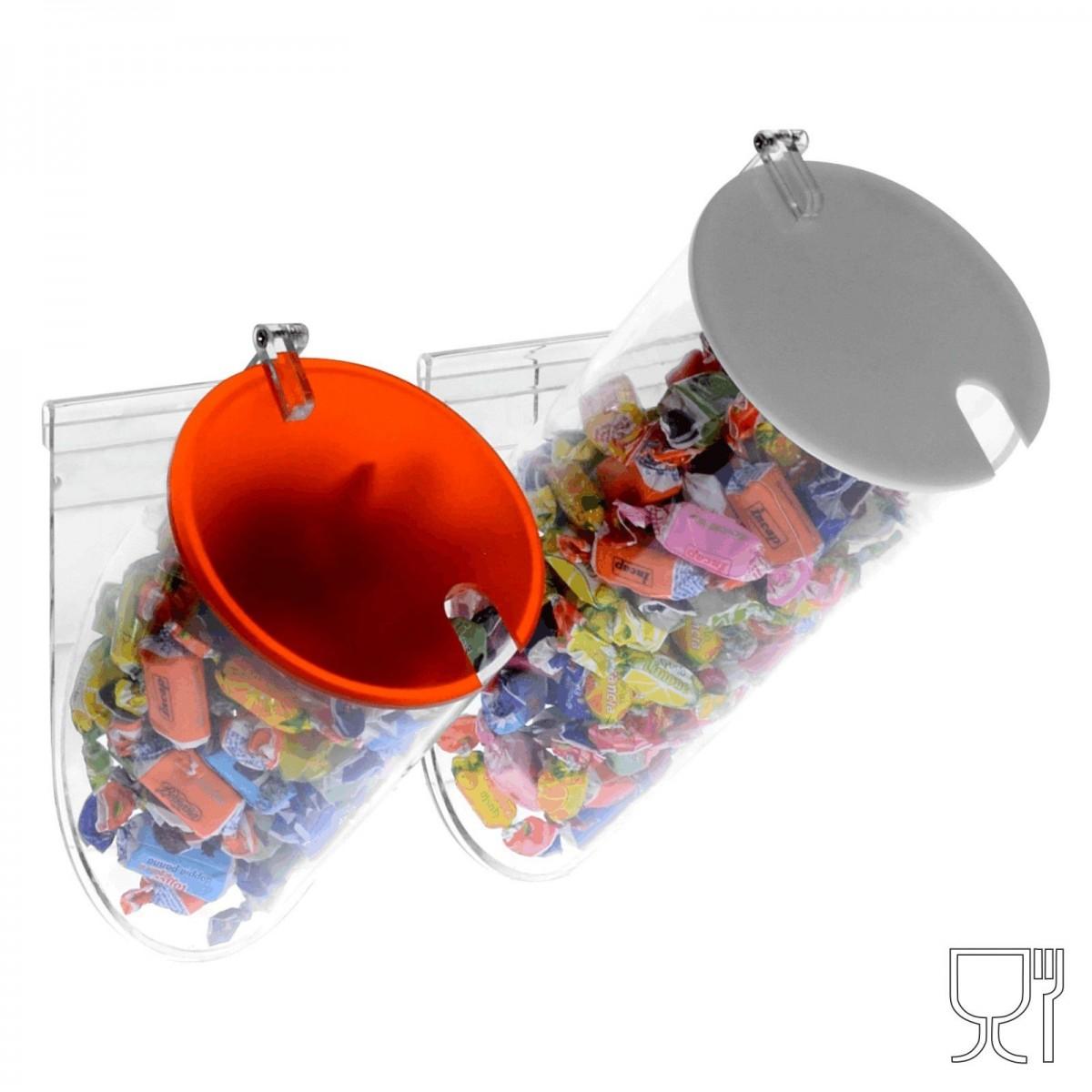 E-050 PC - Porta caramelle 2 contenitori circolari con sportello, muniti di staffa per il fissaggio a parete