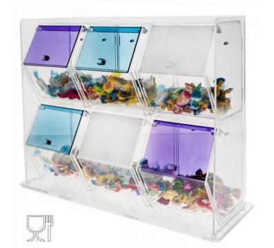 Süssigkeiten-Schütte aus Plexiglass, transparent und farbig, mit 6 Fächern mit Deckeln